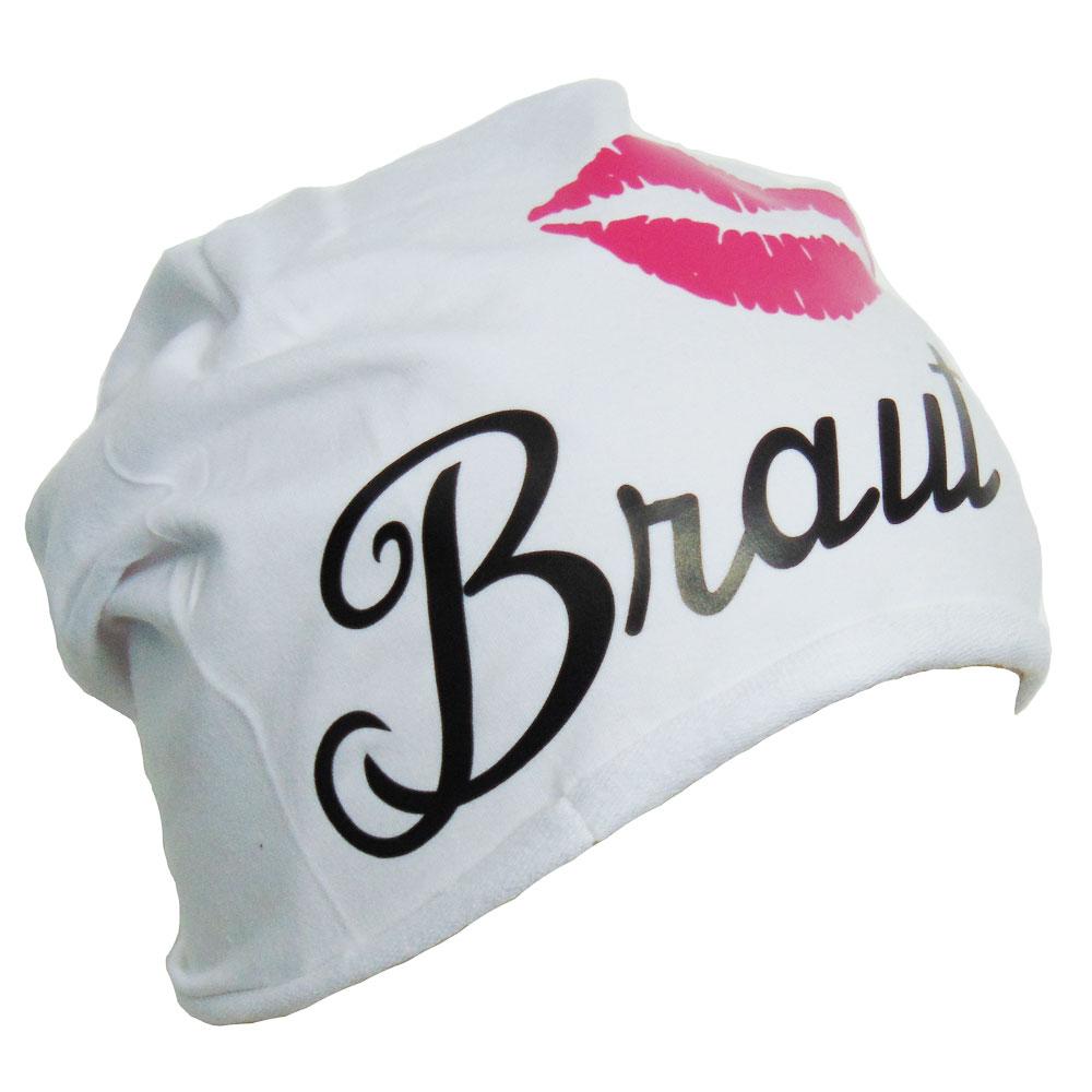 Weiße Junggesellenabschied-Mütze mit Braut-Motiv
