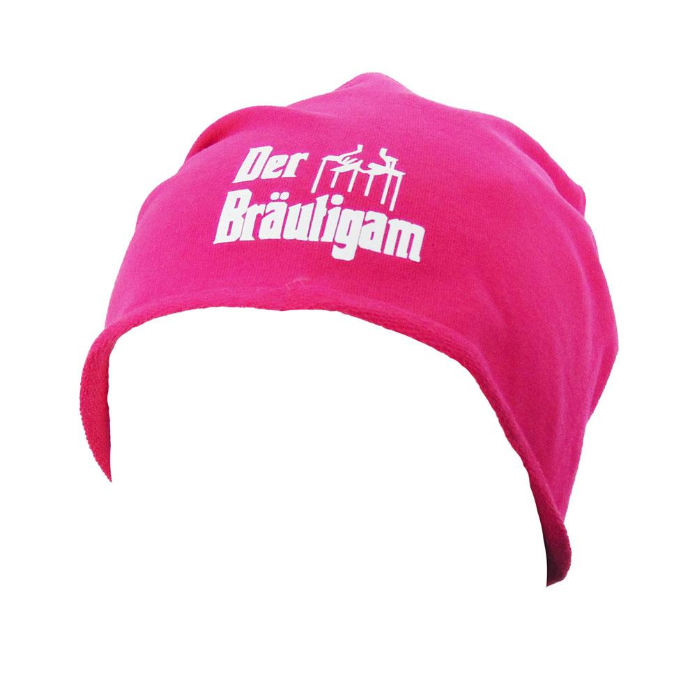 Pinke Bräutigam-Mütze im Ganster-Stil für den JGA
