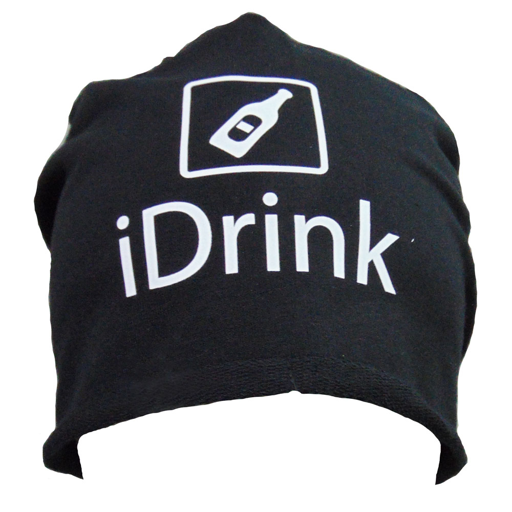 Schwarze JGA-Mütze mit iDrink-Motiv