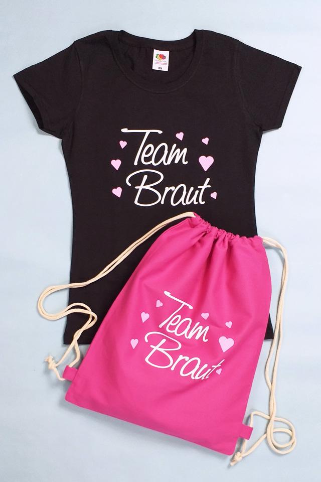 JGA Bekleidung Damen - Herzen - Team Braut