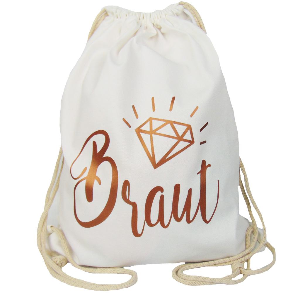 Weißer JGA-Beutel mit Braut-Schriftzug in Kupfer