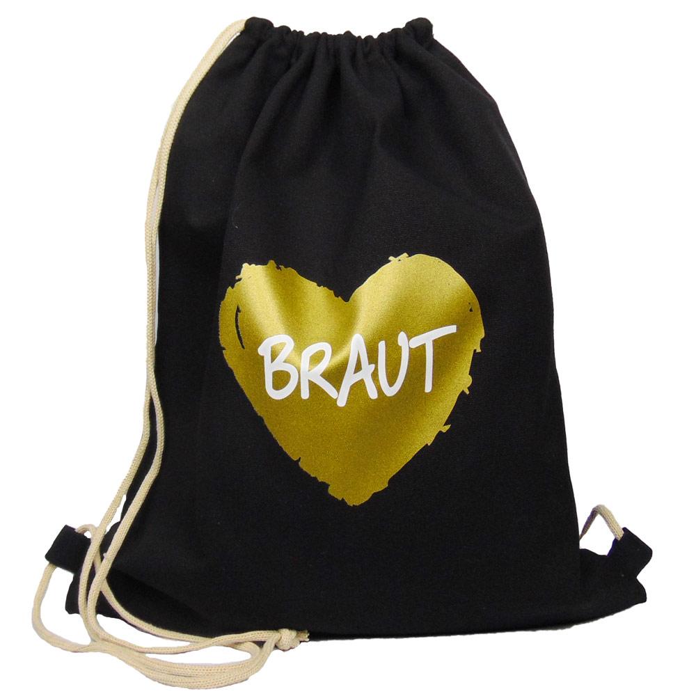 Schwarzer JGA-Beutel mit goldfarbenem Braut-Herz