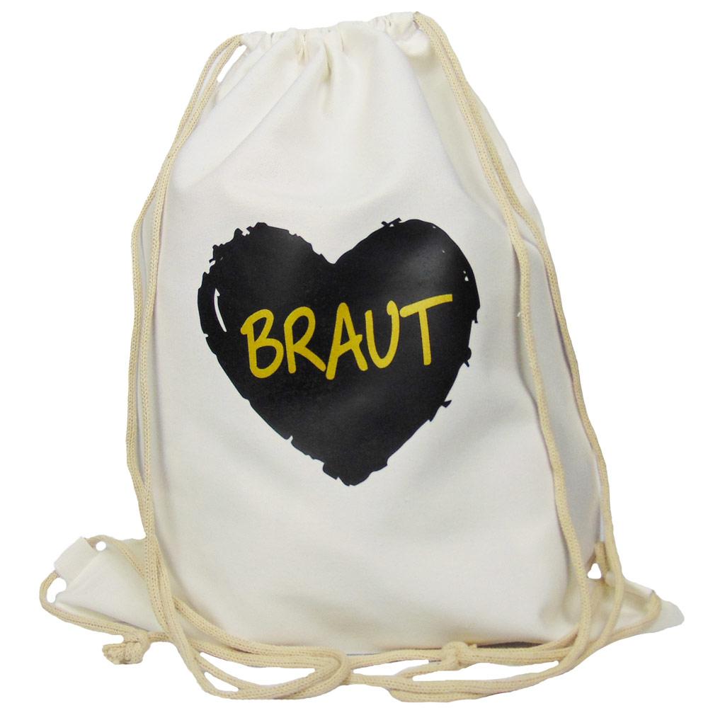 Weisser Junggesellenabschied-Beutel mit schwarzem Braut-Herz