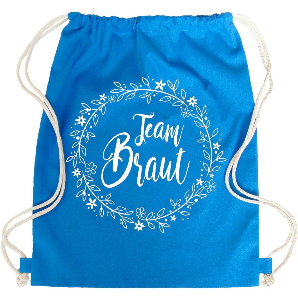 Team Braut JGA-Turnbeutel mit Blumen in Blau