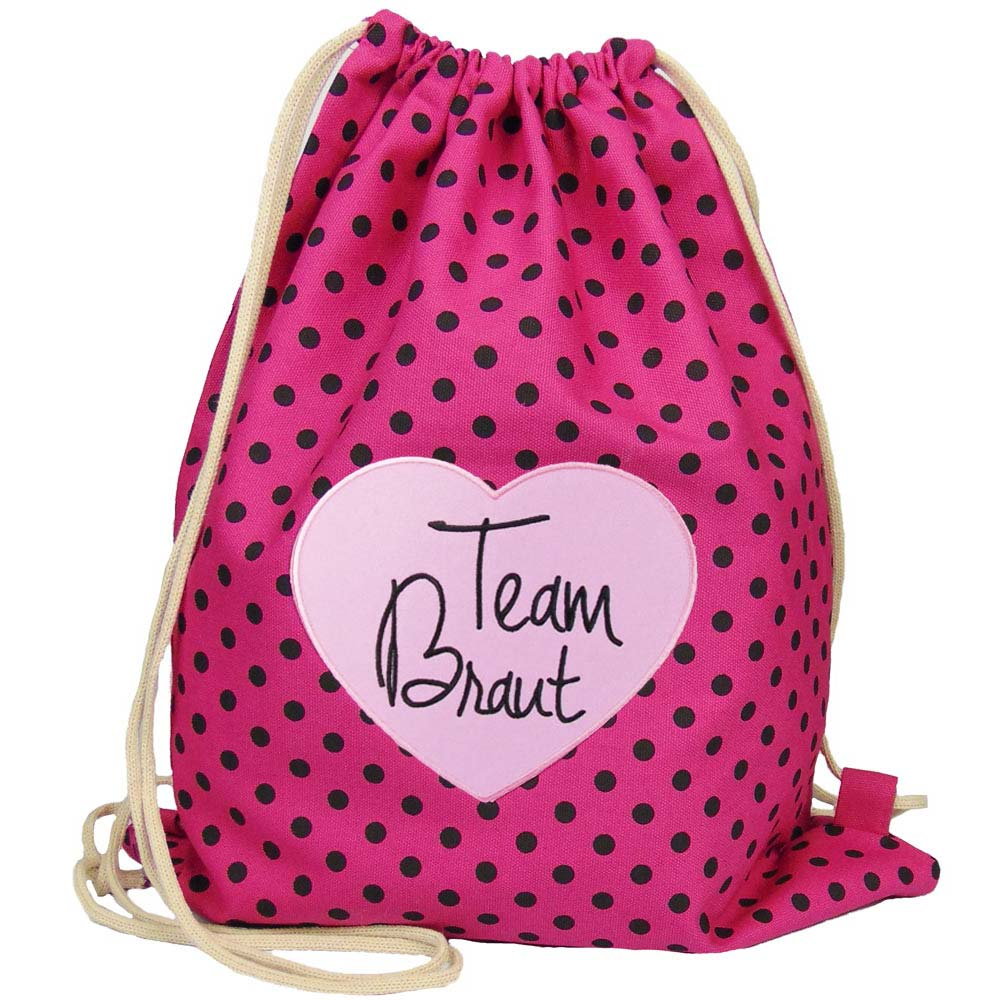 Junggesellenabschied - Beutel-Rucksack Team Braut - Pink mit Punkten und Herz im Aufnaeher-Design