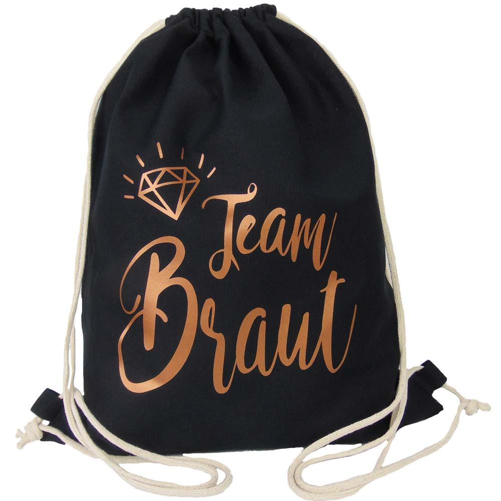 Schwarzer JGA-Beutel mit Team-Braut-Schriftzug in Kupfer