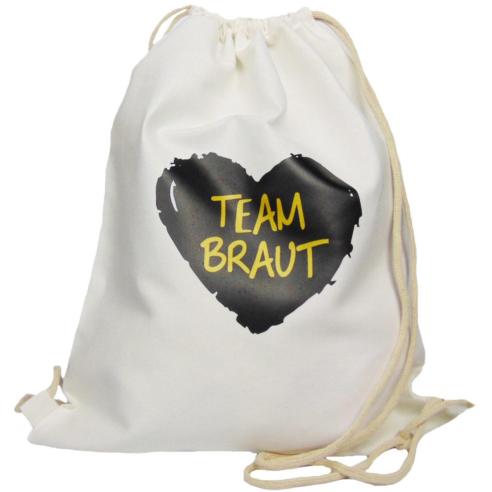Weisser JGA-Beutel mit schwarzem Team Braut-Herz