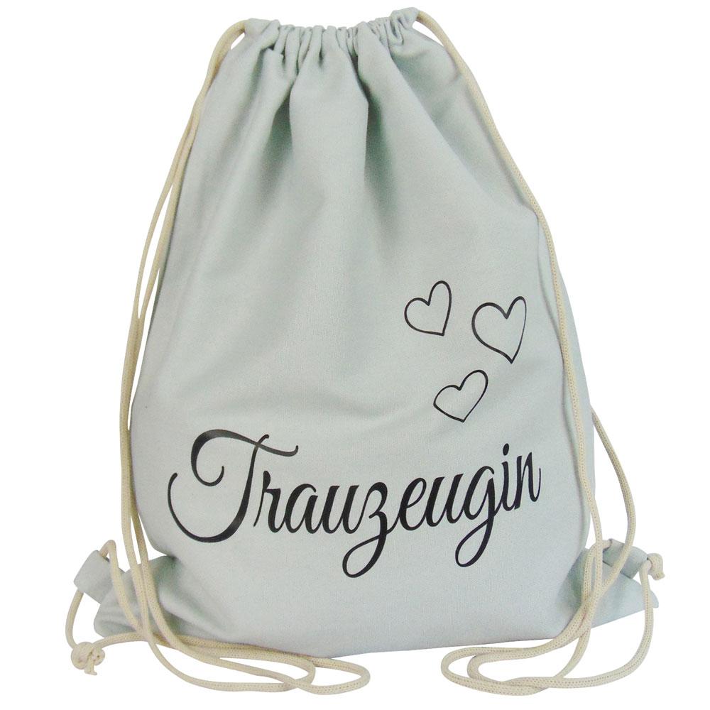 Hellgrauer JGA Turnbeutel mit Trauzeugin-Schriftzug und Herzen