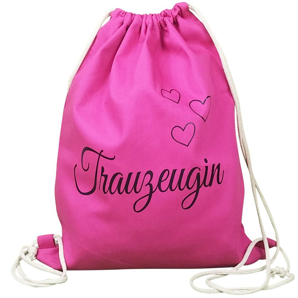Pinkfarbener Rucksack mit Trauzeugin-Aufdruck und Herzen
