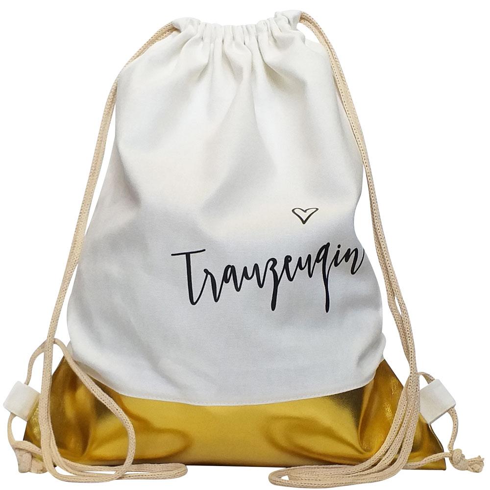 Weisser Trauzeugin-JGA-Turnbeutel mit Gold-Borte
