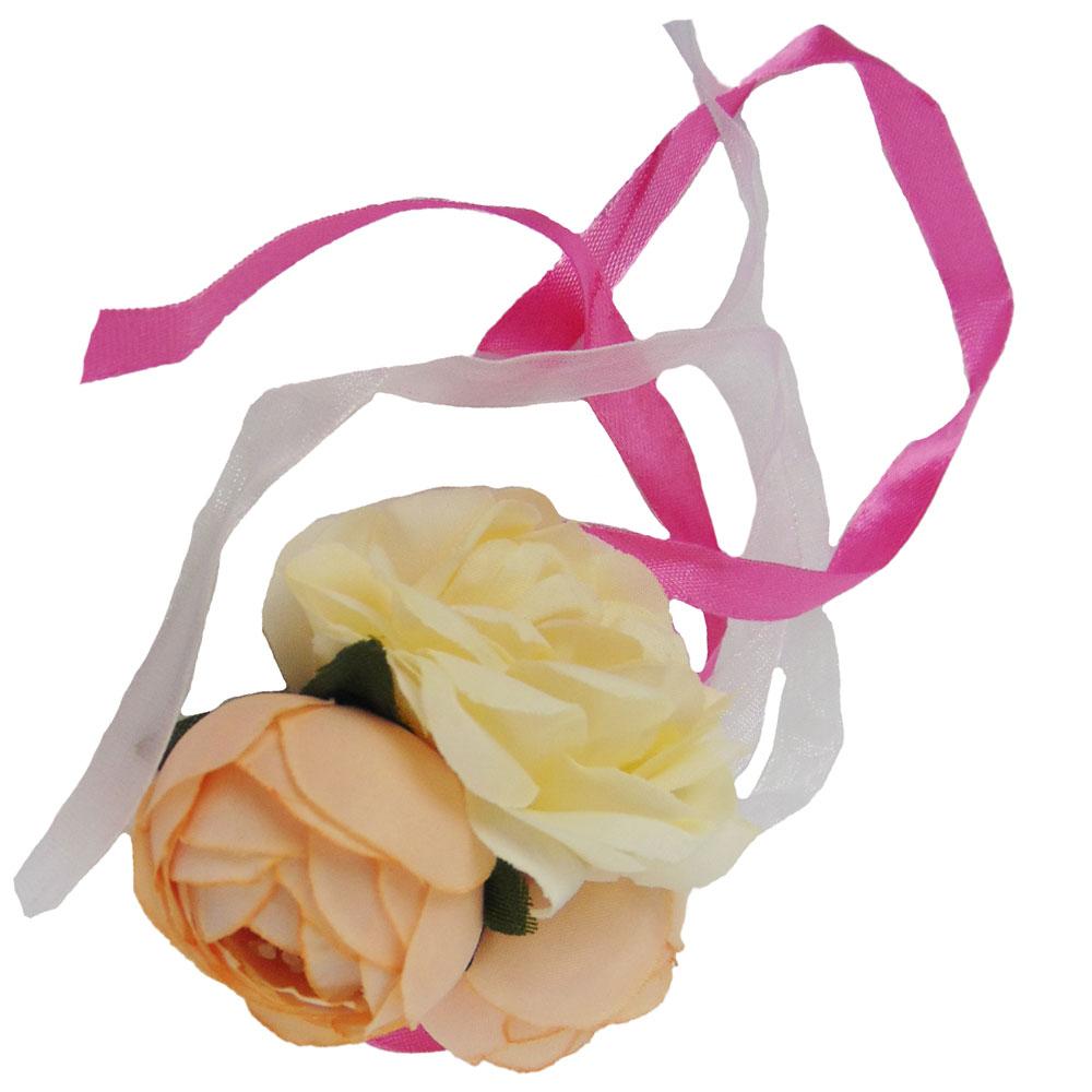 JGA Blumen-Armband in Beige - Braut und Team