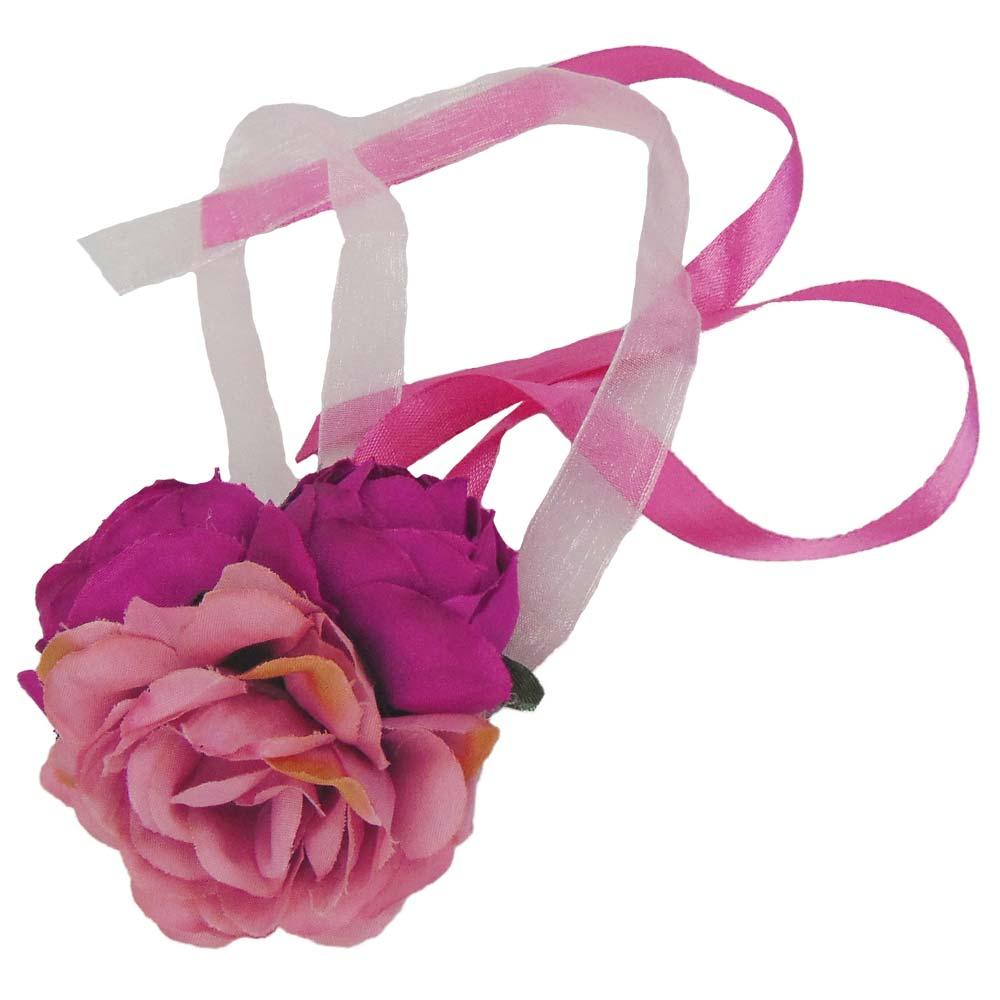 Rosafarbenes Blumen-Armband fuer den Junggesellinnenabschied