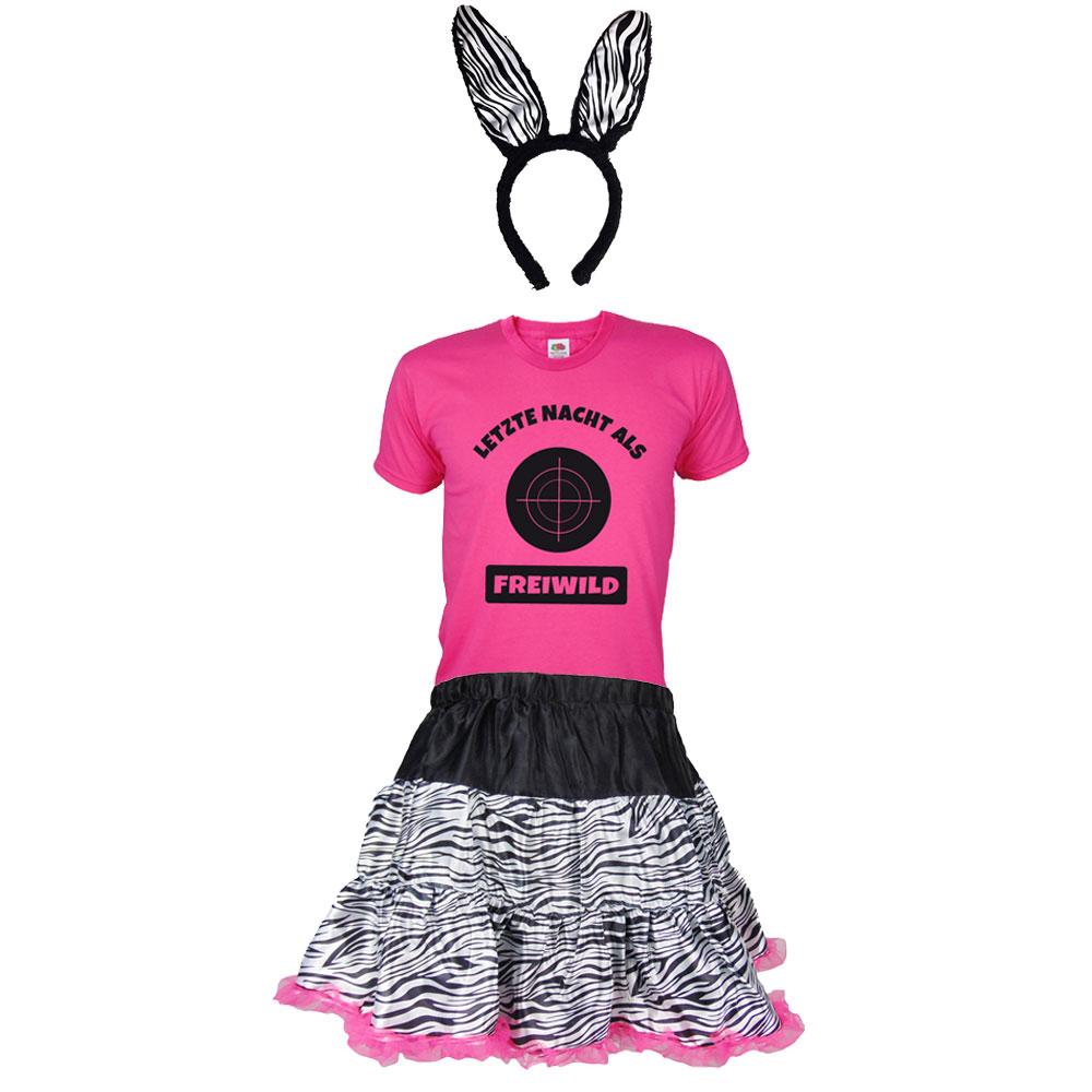 JGA Braeutigam-Kostuem Freiwild - Zebra - Pink