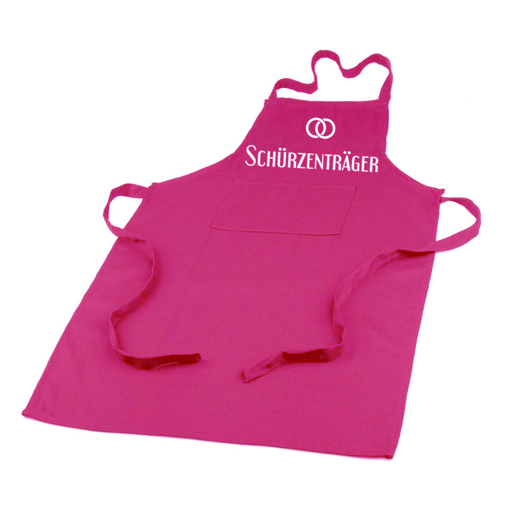 Pinke JGA-Schürze als Bräutigam-Kostüm mit Schürzenträger-Aufschrift