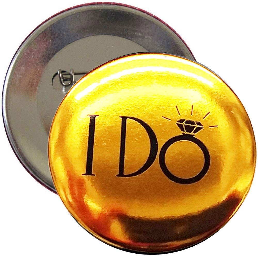 Goldfarbener Junggesellinnenabschied-Button mit I Do-Motiv