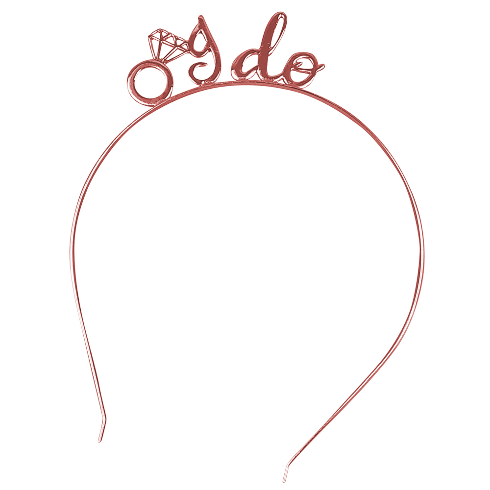 Braut-Haarreif mitI Do-Schriftzug in Rosegold - Junggesellenabschied-Kopfschmuck