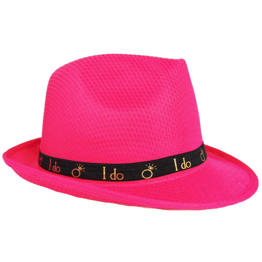 Pinkfarbener JGA Braut-Hut mit schwarzem I Do-Hutband