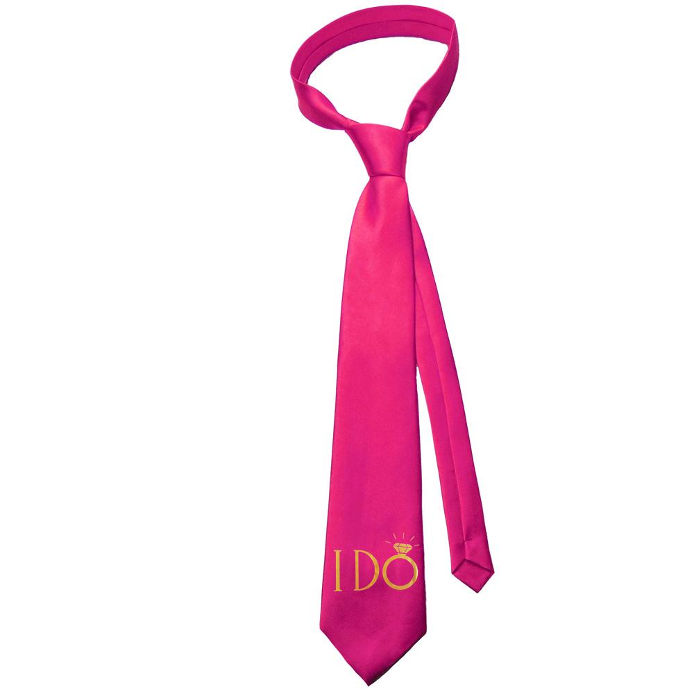 Pinkfarbene JGA-Krawatte mit goldfarbenem I Do-Aufdruck