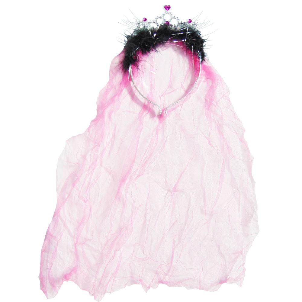 JGA-Krone mit Schleier - Pink