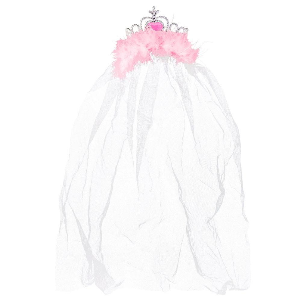 JGA-Krone mit rosa Federn und weißem Braut-Schleier