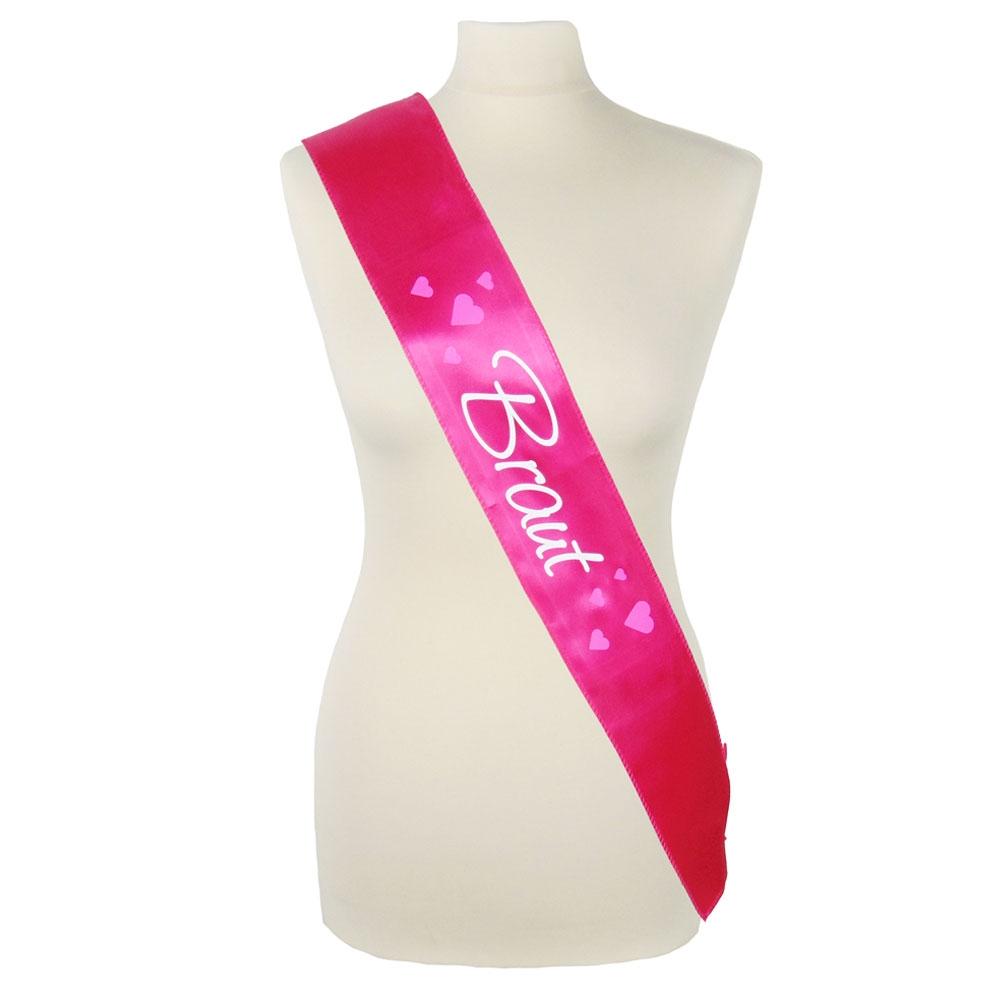 JGA Kostüm-Schärpe Braut - Pink mit Herzen
