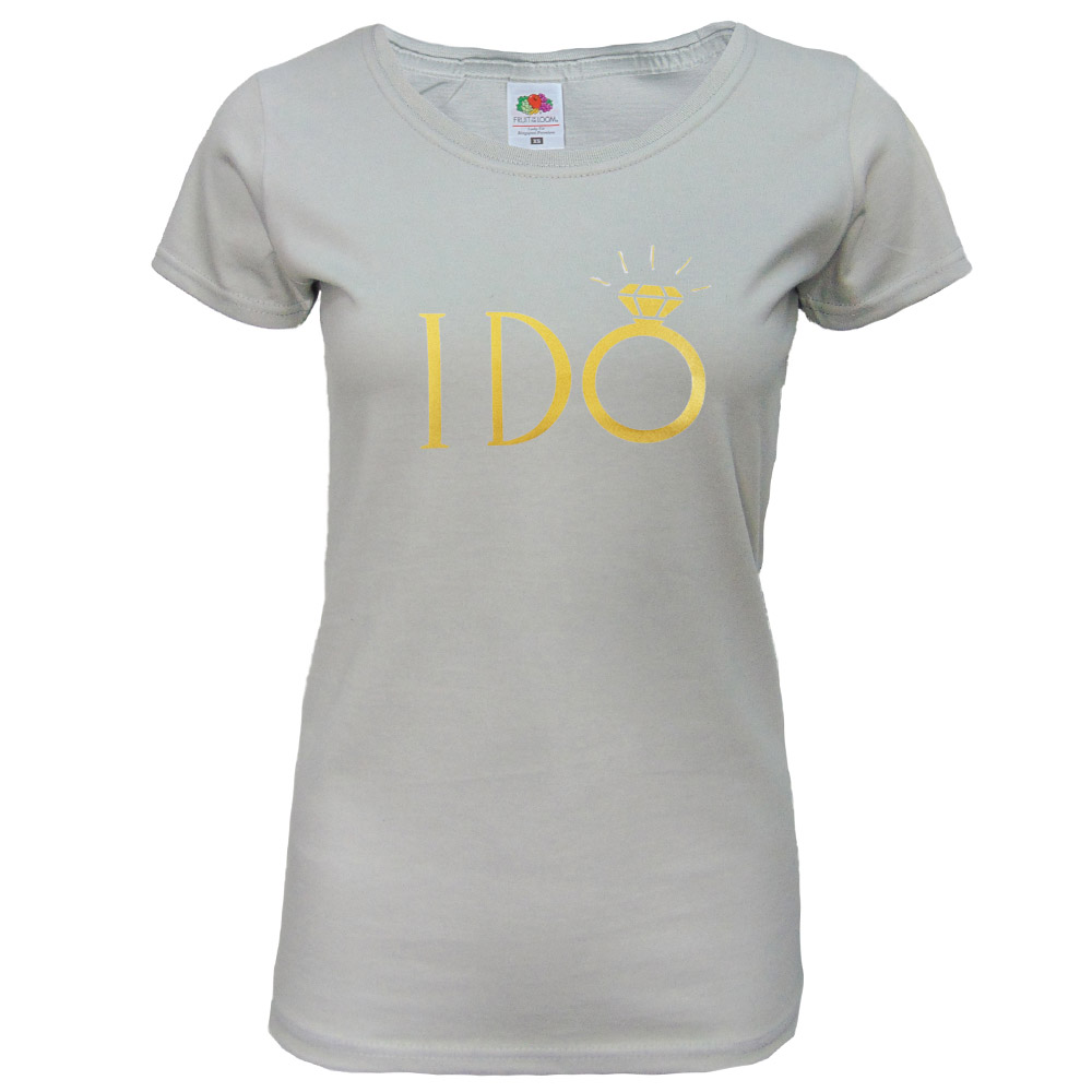 "JGA Braut-Shirt ""I DO"" - Hellgrau"