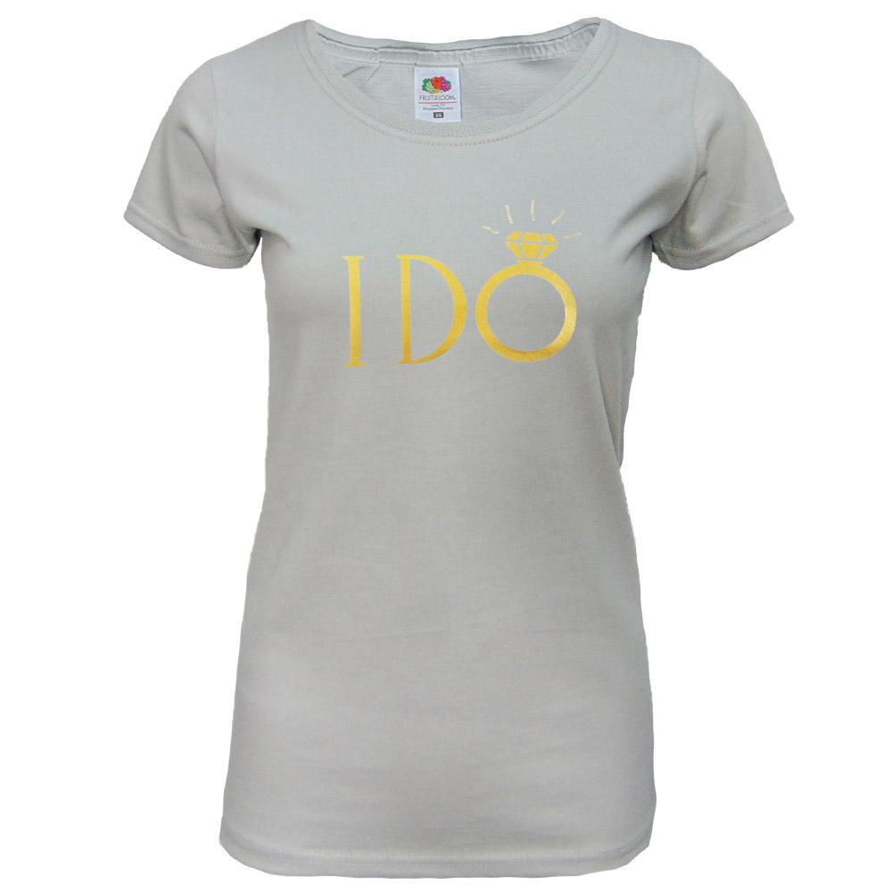"JGA Braut-Shirt ""I DO"" - Hellgrau"