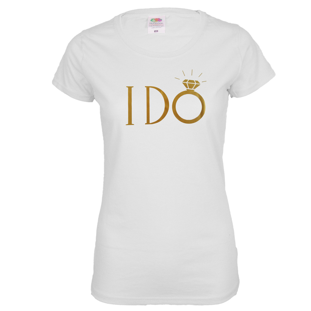 "JGA Braut-Shirt ""I DO"" - Weiss"