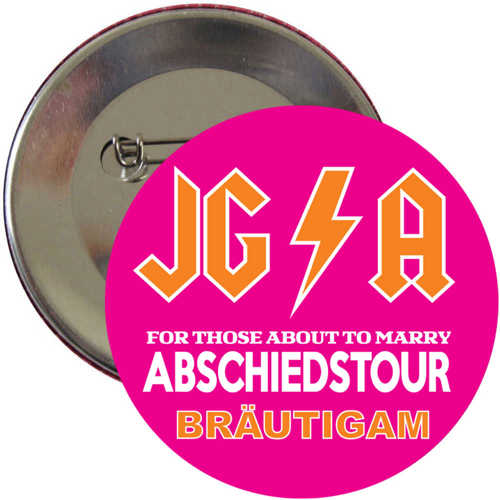Pinkfarbener JGA Bräutigam-Button mit Hard Rock-Motiv