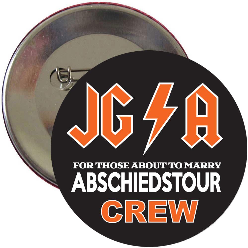 Schwarzer Männer JGA-Button mit Hard Rock-Motiv