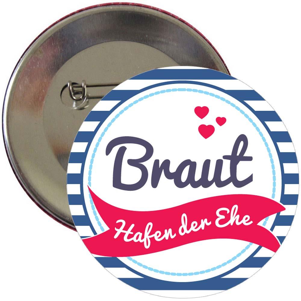 JGA-Button mit Braut-Schriftzug und Anker-Motiv