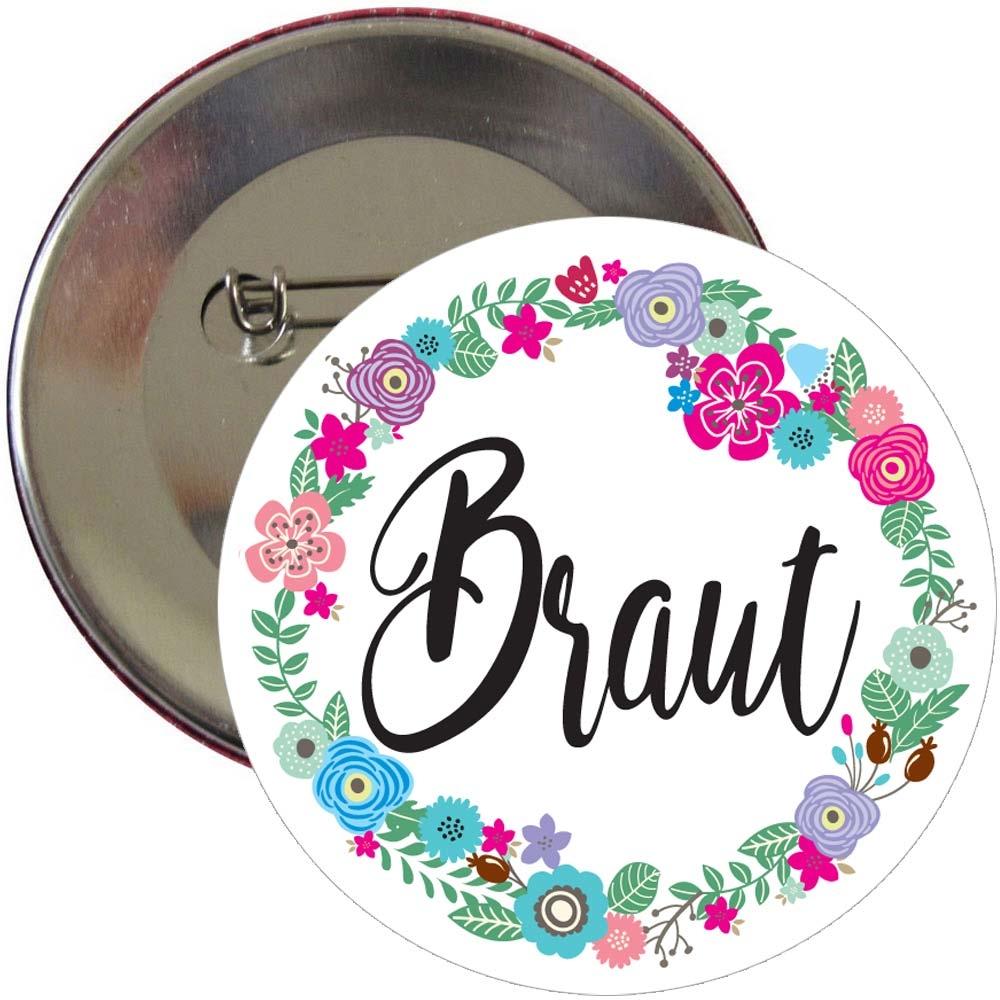 Braut-Button mit Blumen-Motiv fuer den Junggesellinnenabschied