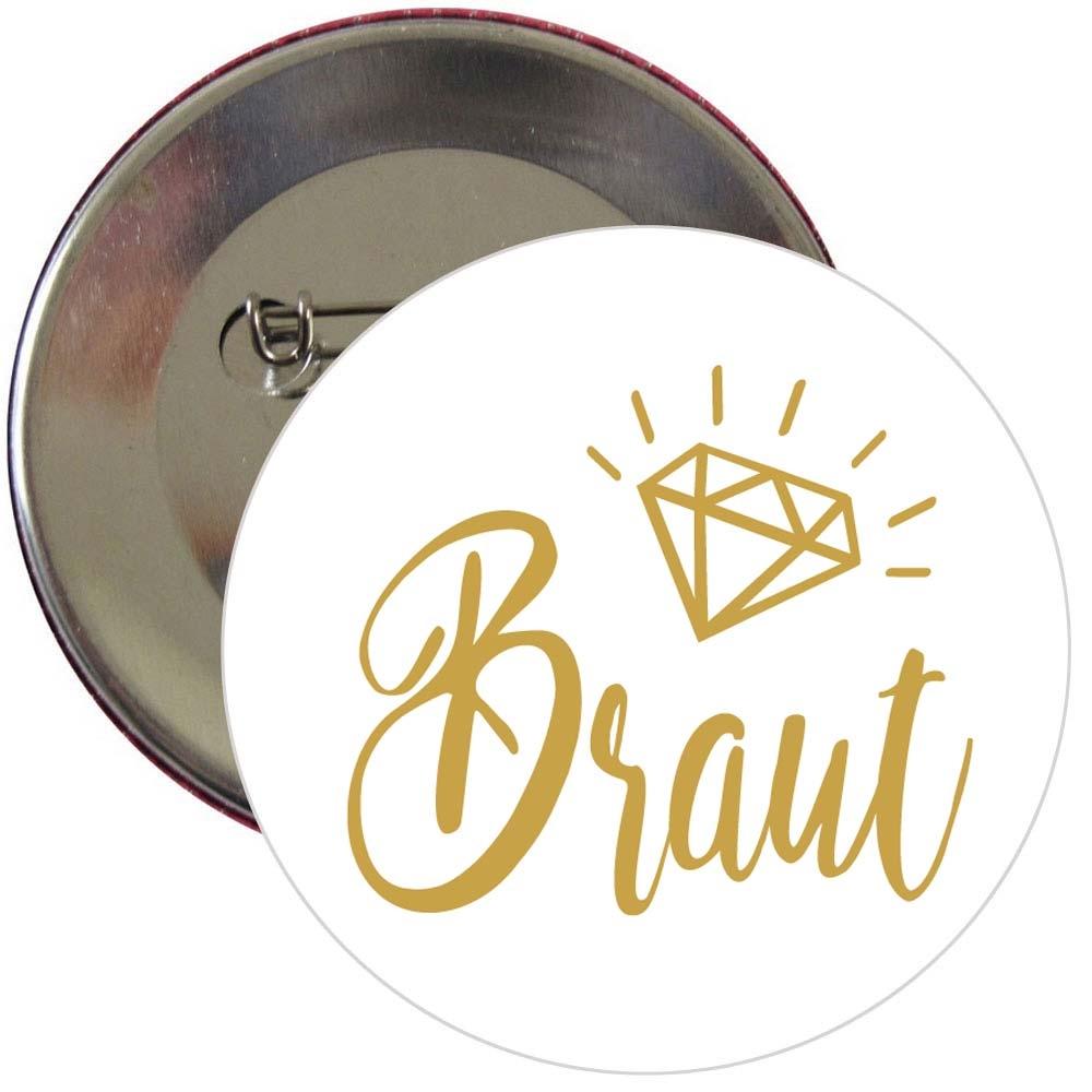 JGA Button mit Braut-Schriftzug in Goldfarbe