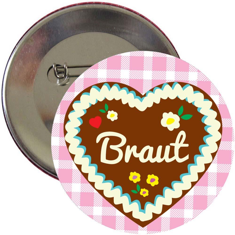 Junggesellenabschied Braut-Button mit Lebkuchenherz