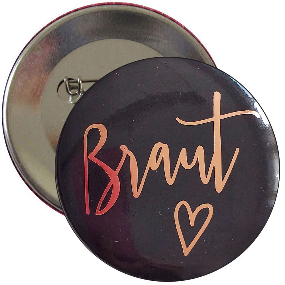 JGA Braut-Button - Plain Hearts - Schwarz-Rosegold