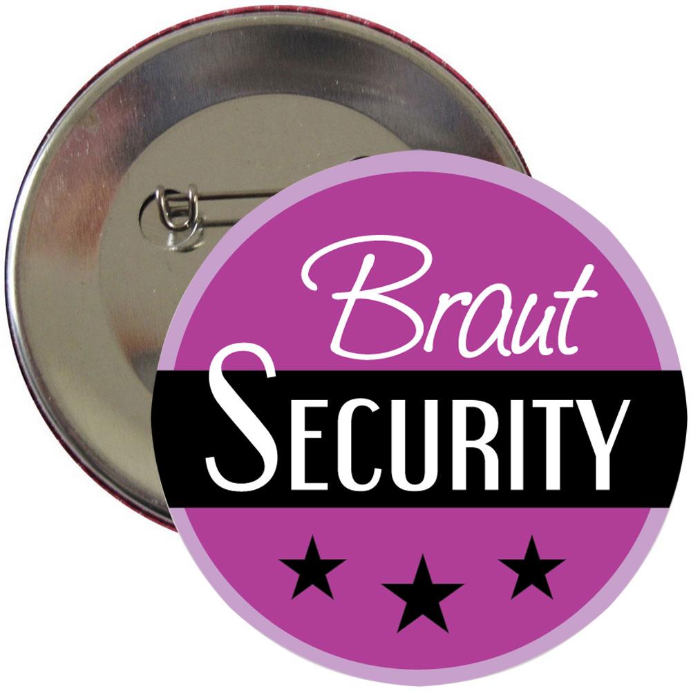 Lilafarbener Braut Security Button für den Junggesellinnenabschied