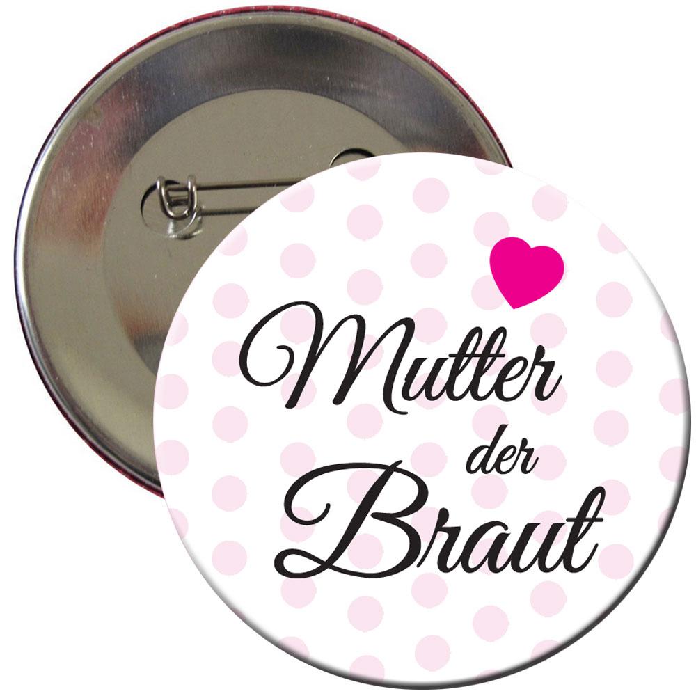 Pünktchen-Button mit Mutter der Braut-Schriftzug für den Junggesellenabschied