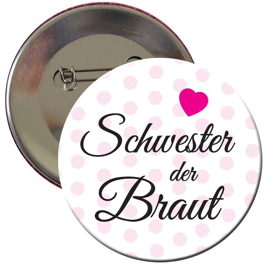 Junggesellenabschied Button Schwester der Braut mit Herz-Motiv