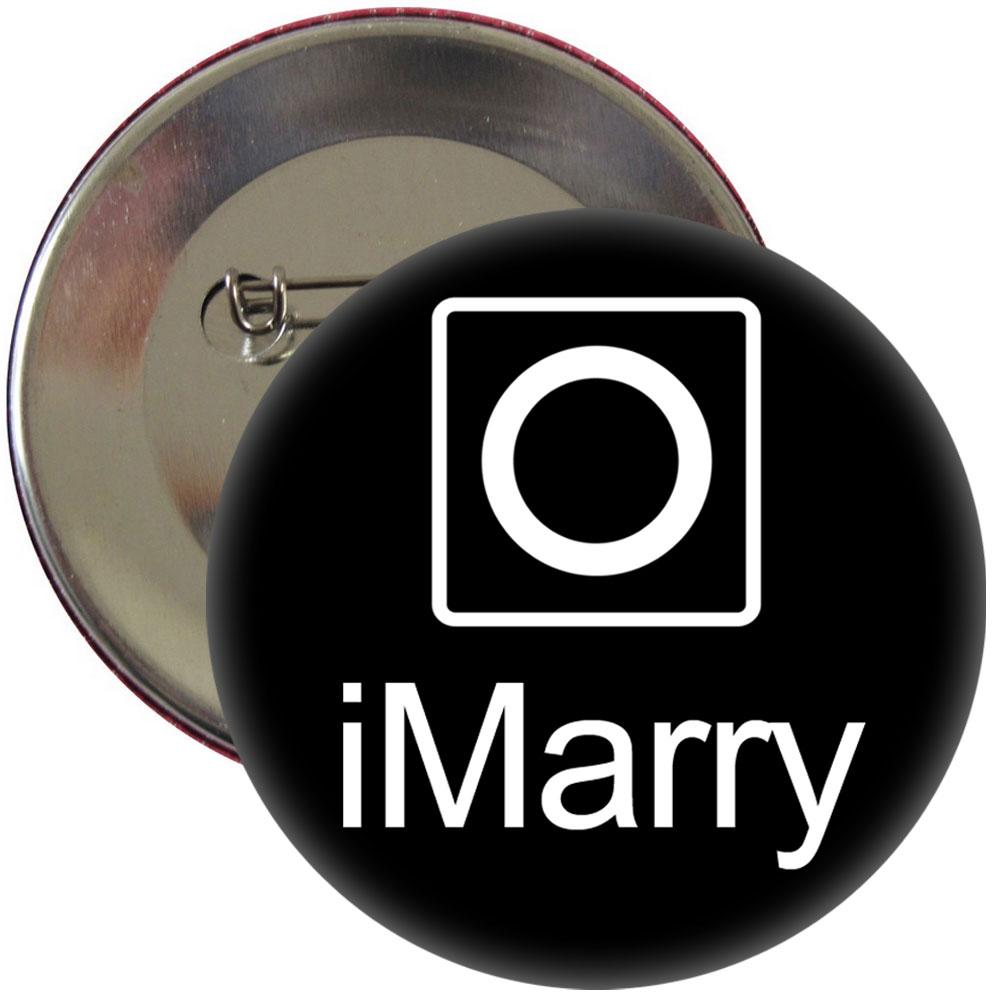 Schwarzer JGA-Button mit I Marry-Motiv