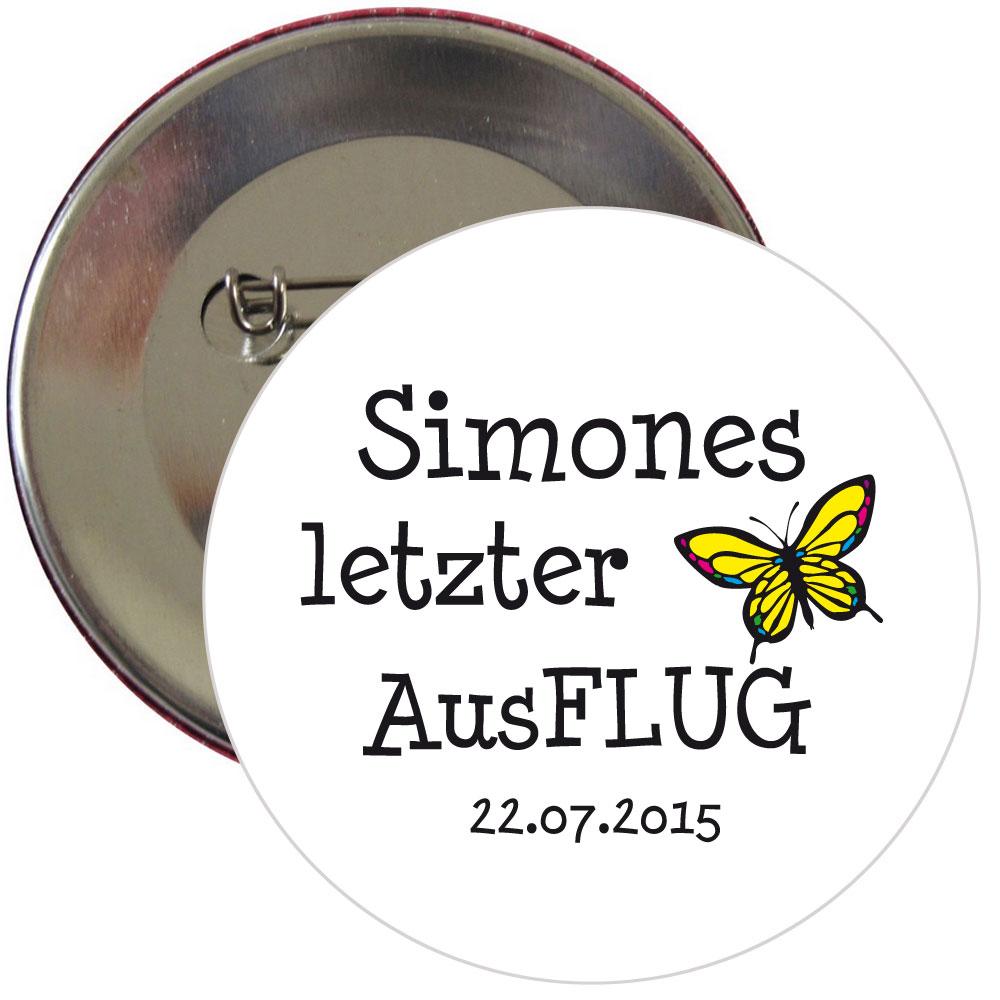 JGA-Button mit Schmetterling-Motiv und Namen und Datum