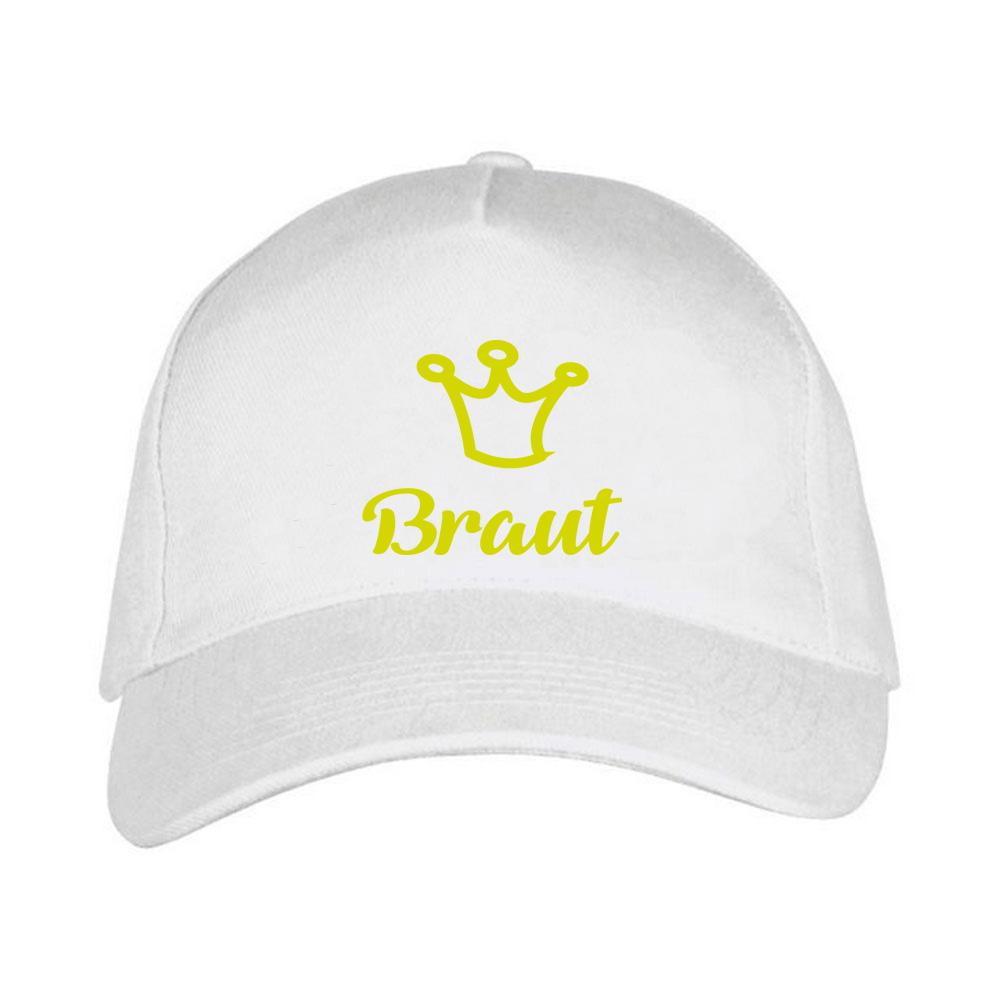 Weiße JGA-Cap mit goldfarbenem Braut-Motiv