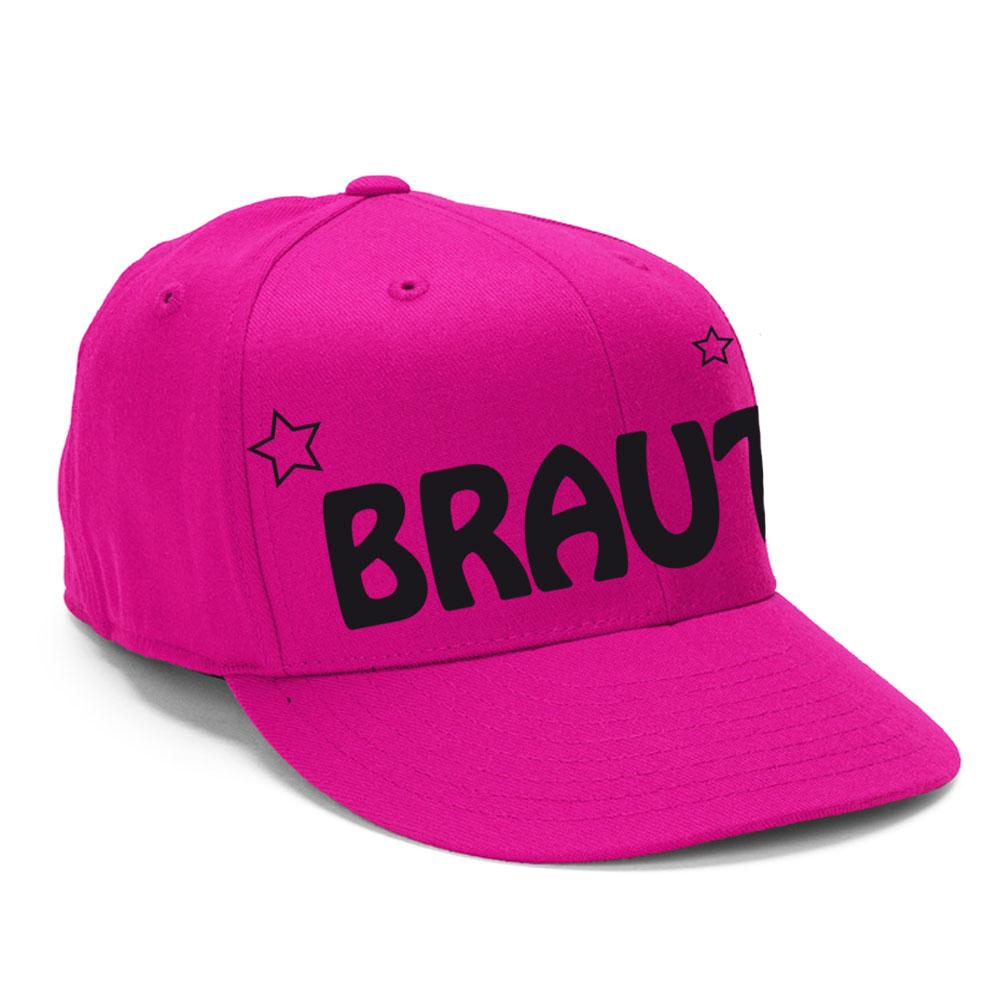 Pinkfarbene JGA-Cap mit Braut-Schriftzug und Stern-Motiv - seitliche Ansicht