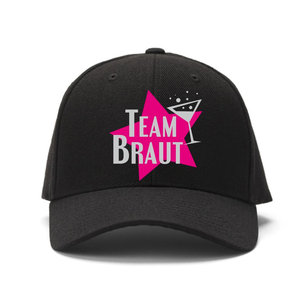 Schwarze Team Braut JGA Cap mit pinkfarbenem Stern