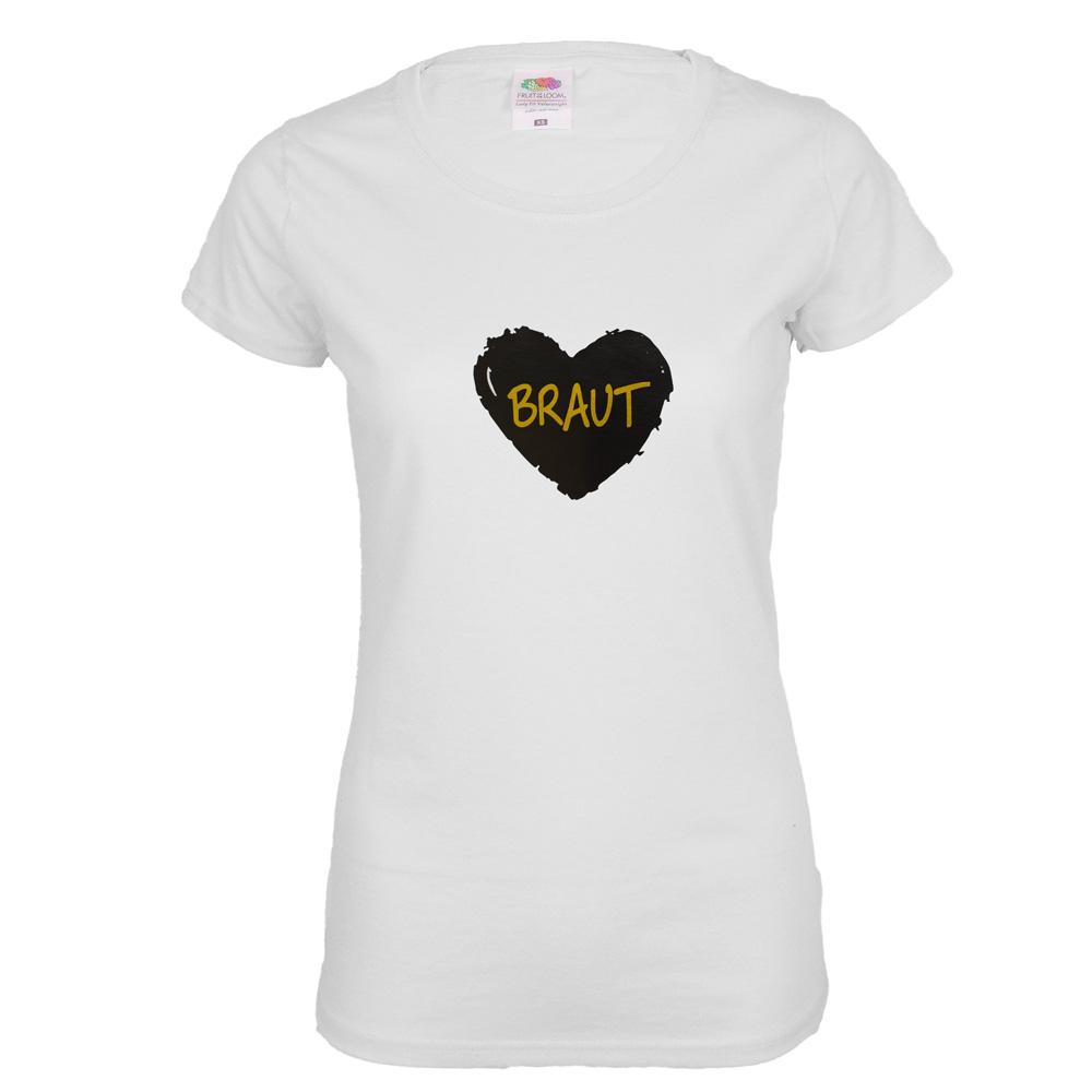 Weisses Junggesellinnenabschied-Shirt mit schwarzem Braut-Herz