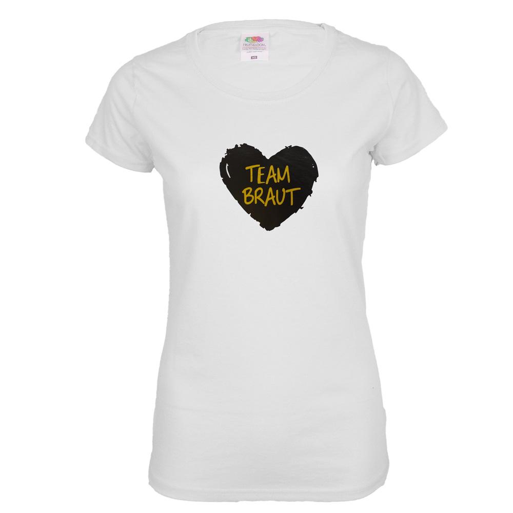 Weisses JGA T-Shirt mit schwarzem Team Braut-Herz