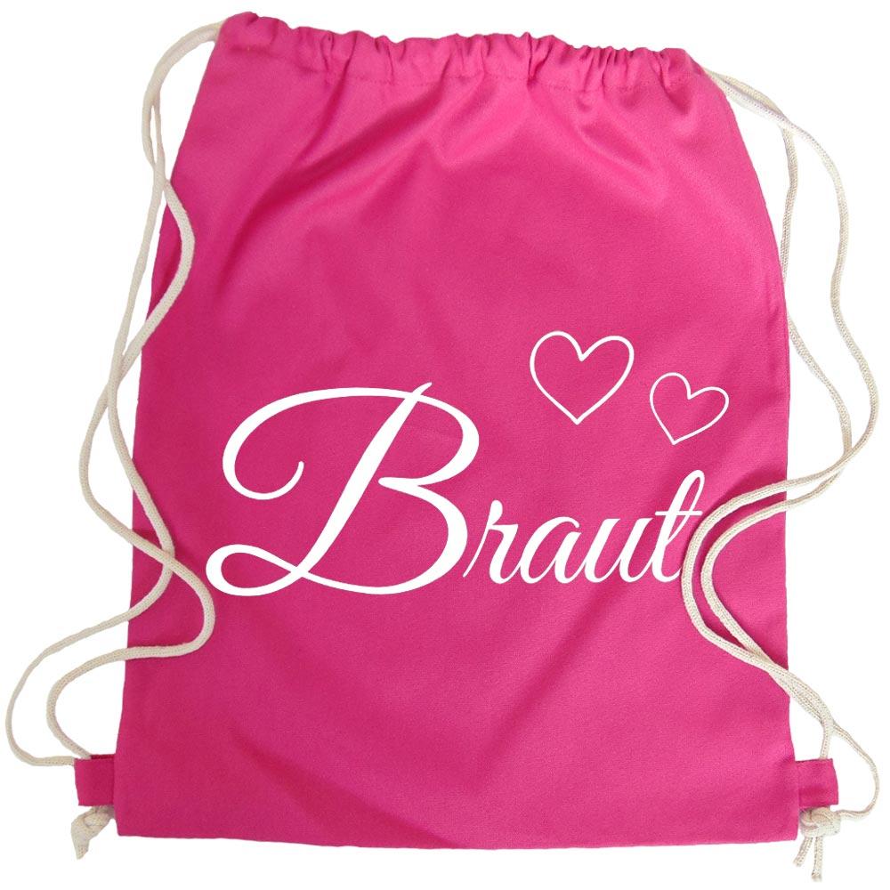Pinkfarbener Braut-Daypack mit Herzen fuer den Junggesellinnenabschied