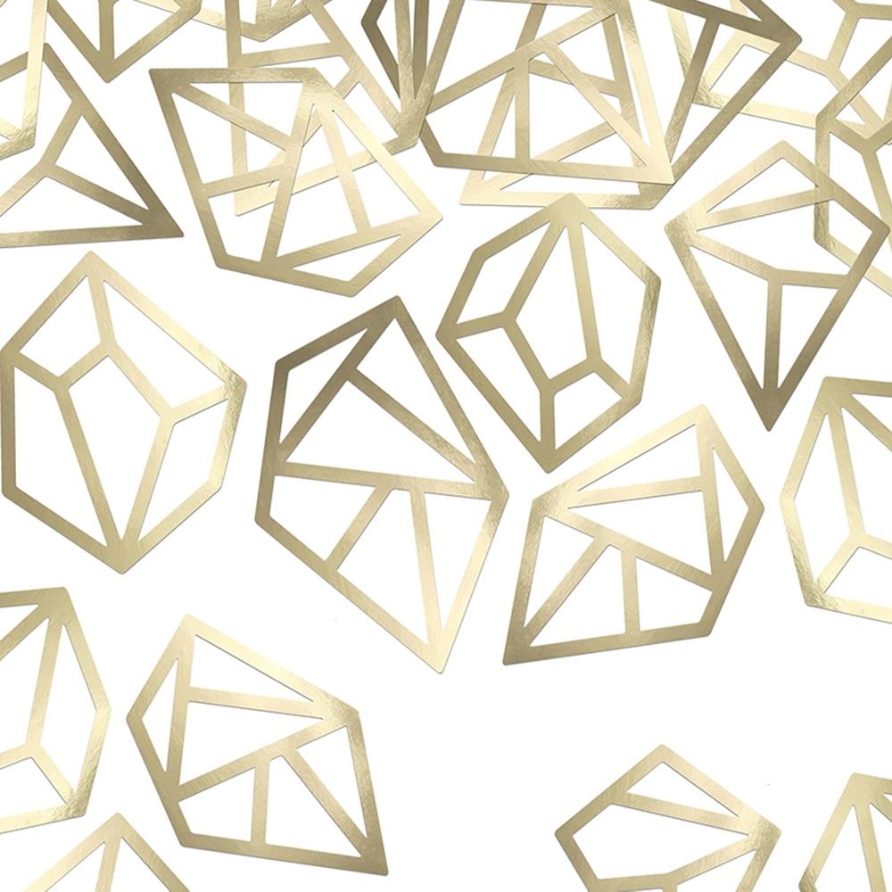 Goldfarbene Deko Cutouts in Diamant-Form für den Junggesellenabschied