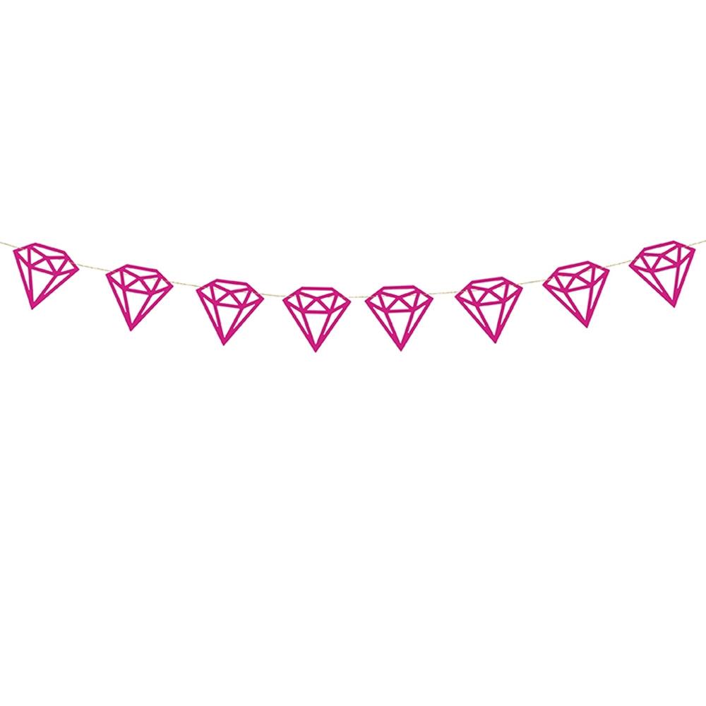 Pinkfarbene Bridal Shower Deko-Girlande im Diamanten-Design