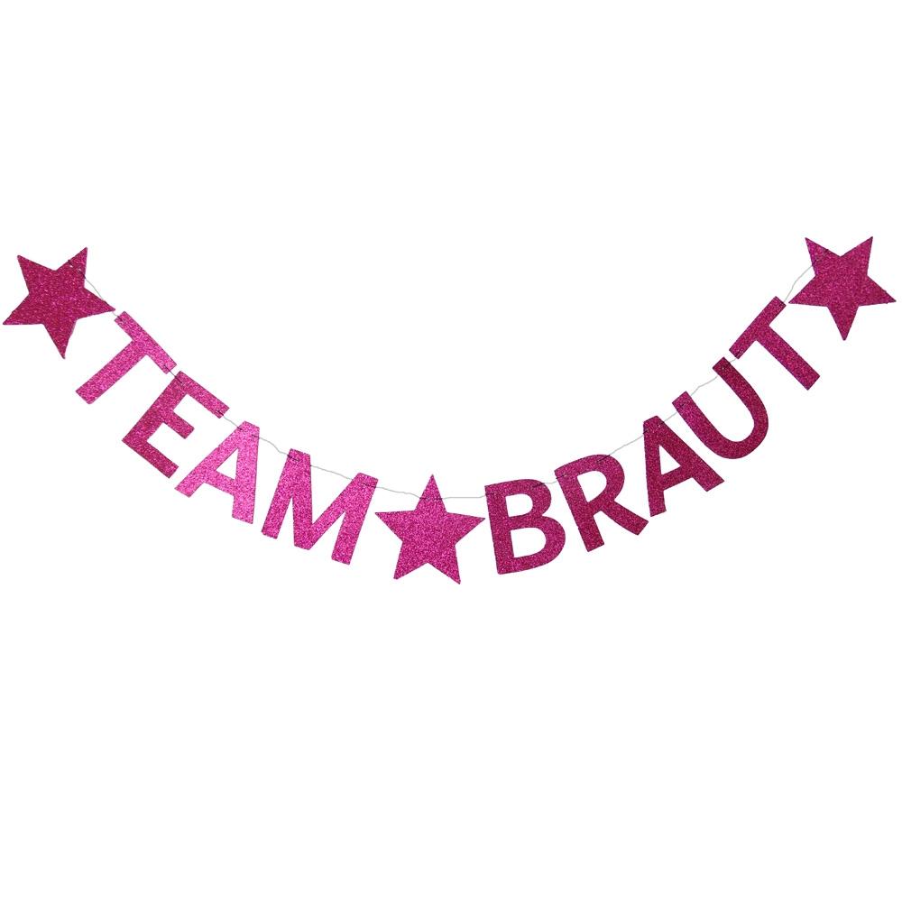 Pinkfarbene JGA Deko Girlande - Team Braut