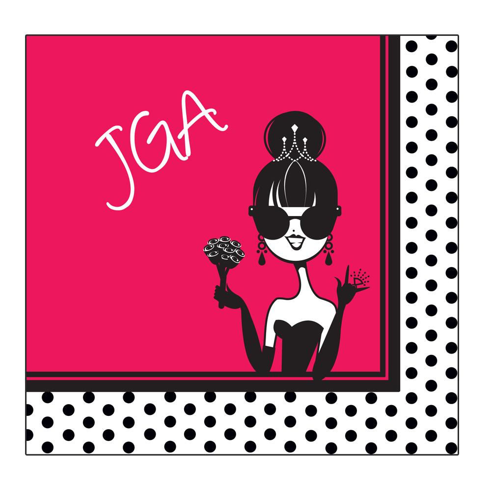 Pinkfarbene JGA Deko-Servietten mit Comic-Braut